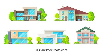 Houses, cottages, villas and bungalow vector icons - Houses...