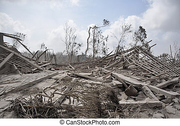 Houses Damaged by Pyroclastic - Damaged Houses from...