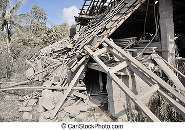 Houses Damaged by Pyroclastic - Damaged house from...