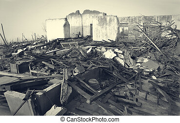 Houses Destroyed by Disaster in Black and White.