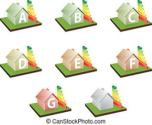 illustration of houses with energy efficiency bars, showing the letter A to G