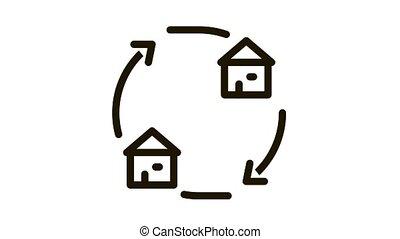 houses exchange Icon Animation. black houses exchange animated icon on white background