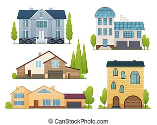 Houses exterior vector illustration front view with roof. Home facade with doors and windows. Modern town house cottage and assorted real estate building icons flat set isolated vector illustration
