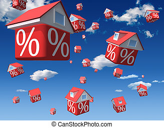Houses - Falling houses with percent symbol on sky...