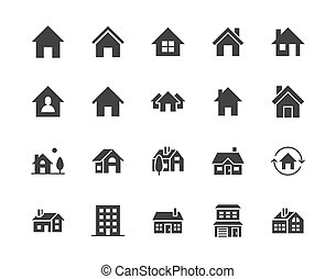 Houses flat glyph icons set. Home page button, residential ...