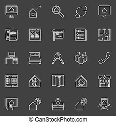 Houses for rent outline icons