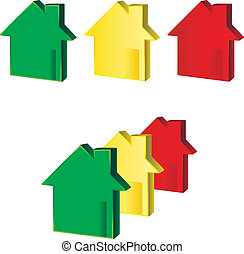 Houses Green Yellow Red illustrating financial crisis