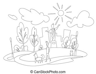 houses., homme, jeune, monument, grand, paysage, sien, chien, croquis, pelouse, plat, fond, park., style, milieu, marche, ville, arbres
