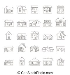 Houses icon set in thin line simple style on white background, for real estate design