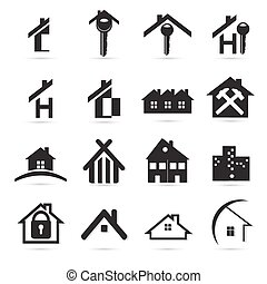Houses icons set, real estate, black isolated on white background