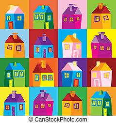 Houses, illustration, wallpaper - background, naive, raster