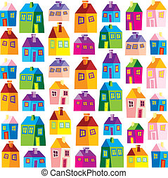 Houses, illustration, wallpaper - background, naive
