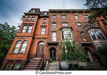 Houses in Bunker Hill, Charlestown, Boston, Massachusetts.