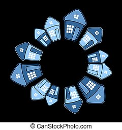 Houses in circle shape on black background.
