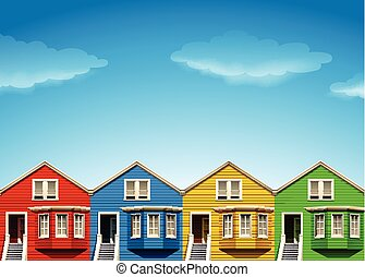 Houses in four colors