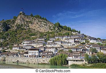 houses in historic berat old balkan town albania