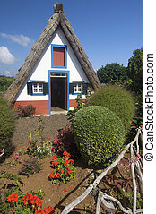 houses in Madeira island - View of typical houses in Santana...