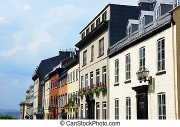 Row of houses in Old Quebec city, Canada