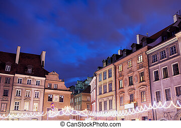 Houses in Old Town of Warsaw at Night