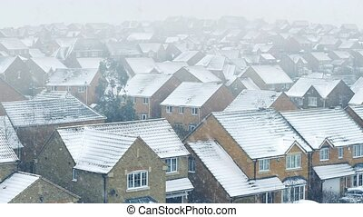 Houses In Snow Storm - Residential area in heavy snowfall
