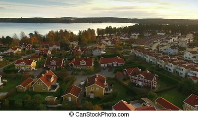 Houses in Sweden - Aerial view of houses in Sweden