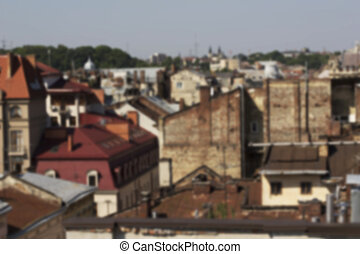 Houses in the center of Lviv. Blurring background