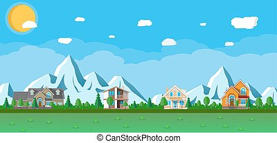 Houses in the mountains among the trees