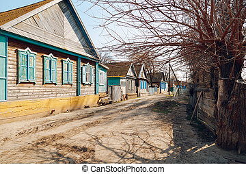 Houses in the village - Street in the village with wooden ...