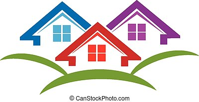 Houses logo business card construction industry vector...