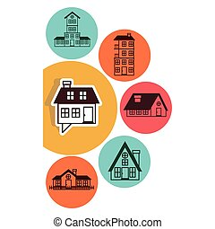 houses logo design in colorful bubbles