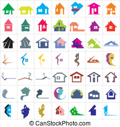 Houses logotypes - Set of 49 houses logo
