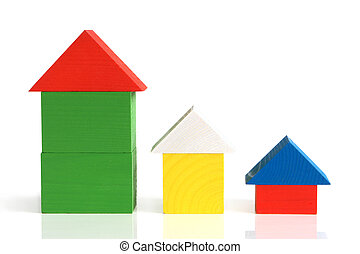 Houses made from wooden building blocks