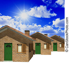 houses model 3d and sky