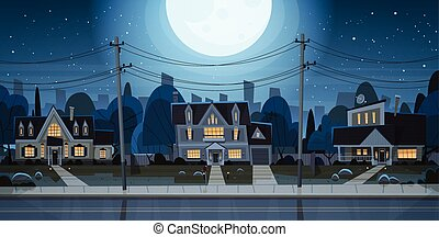 Houses Night View Suburb Of Big City, Cottage Real Estate...