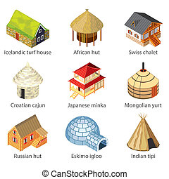 Houses of different nations icons vector set - Houses of...