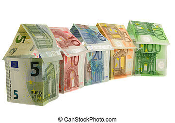 Houses of euro banknotes - Houses made from euro banknotes,...