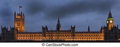 Houses of Parliament, also known as the Palace of Westminster, rebuilt in the 19th Century by Charles Barry and Augustus Pugin in a Neo-Gothic style. Located in Westminster on the bank of the River Thames.