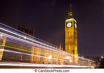 Houses of Parliament and Big Ben at Night, London