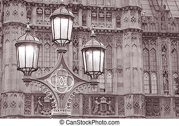 Houses of Parliament and Lamppost in Westminster; London; England
