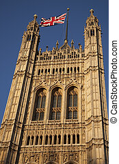 Houses of Parliament and the Union Jack Flag, London, England, UK