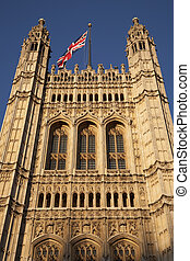 Houses of Parliament and Union Jack Flag, London, England, UK