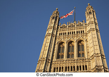 Houses of Parliament and Union Jack Flag; London, England, UK