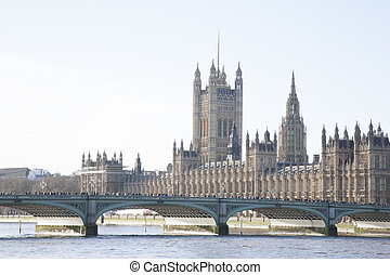 Houses of Parliament and Westminster Bridge; London
