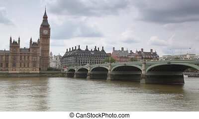 Houses of Parliament, Big Ben and Westminster Bridge in London