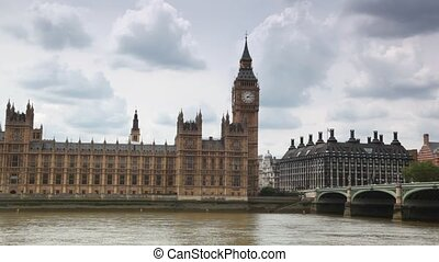 Houses of Parliament, Big Ben and Westminster Bridge near Thames