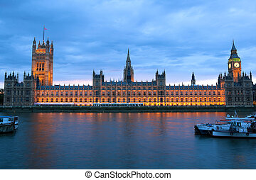 Houses of Parliament - Evening view of House of Parliament,...