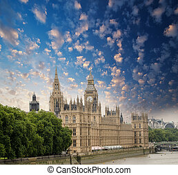 Houses of Parliament in London, UK. Beautiful view from Lambeth