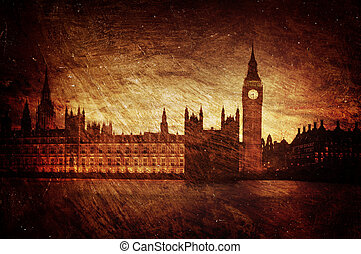 Houses of Parliament, London. - gloomy; textured; houses of...