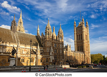 Houses of Parliament, London - View on Houses of Parliament,...