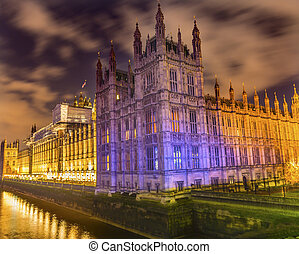Houses of Parliament Thames River Westminster Bridge Nght Westminster London England